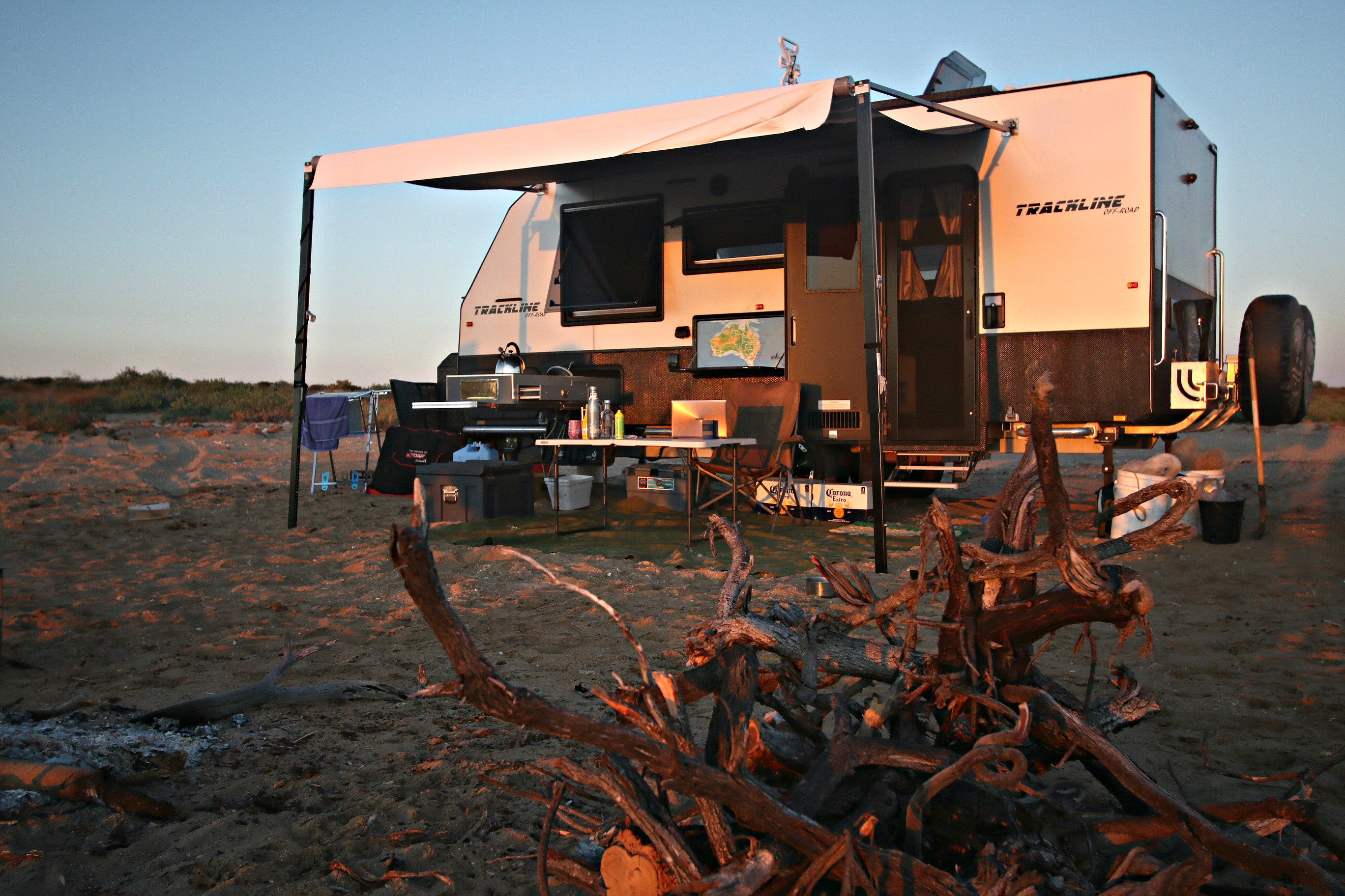 Exterior View of the 17.6m Trackline Caravan